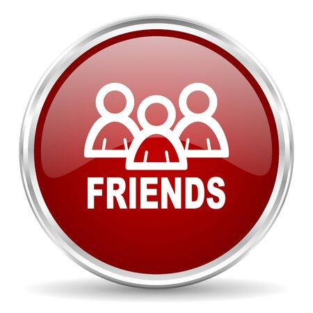 circle of friends: friends red glossy circle web icon