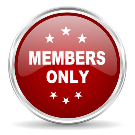 members only: members only red glossy circle web icon Stock Photo