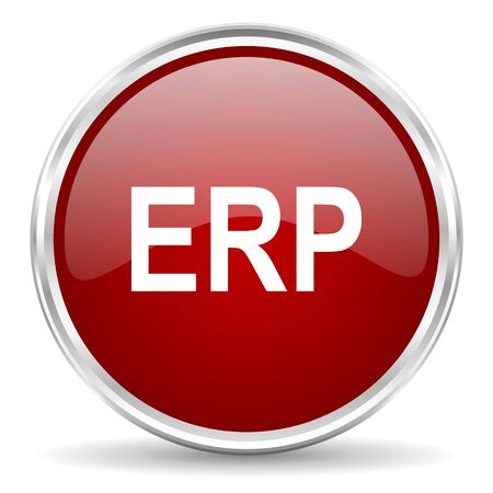 erp: erp red glossy circle web icon