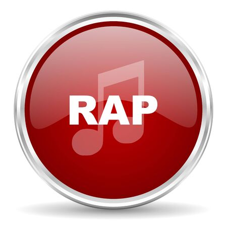 red button: rap music red glossy circle web icon