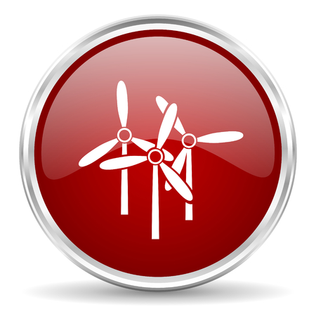 steel mill: windmill red glossy circle web icon Stock Photo