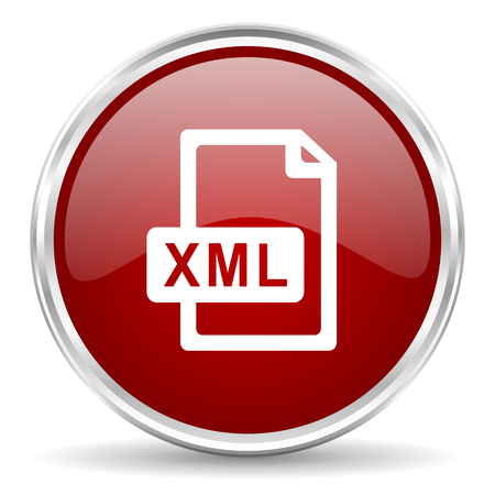 xml: xml file red glossy circle web icon Stock Photo