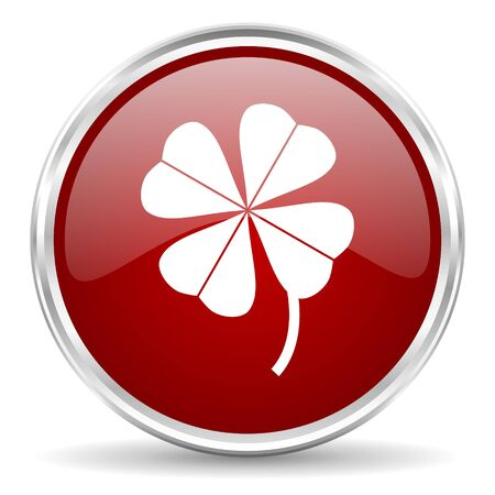 red clover: four-leaf clover red glossy circle web icon