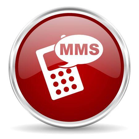mms: mms red glossy circle web icon