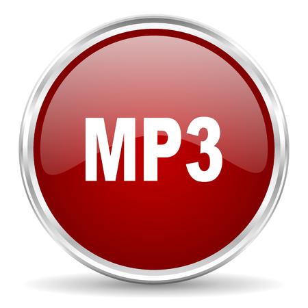 mp3: mp3 red glossy circle web icon