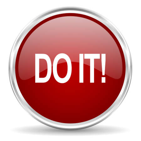it: do it red glossy circle web icon Stock Photo