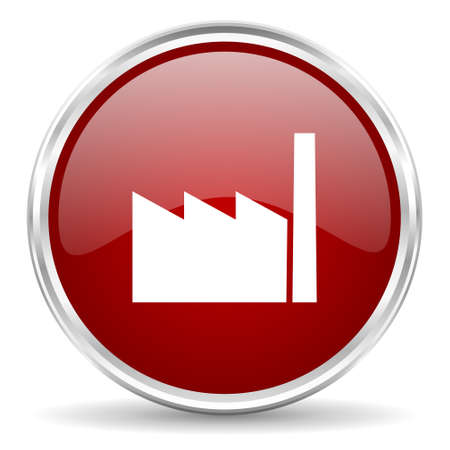 industrial complex: factory red glossy circle web icon