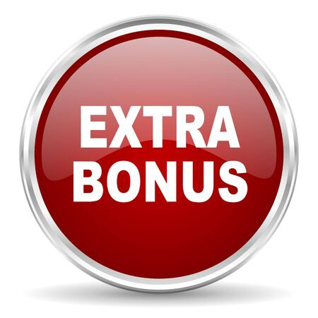 extra: extra bonus red glossy circle web icon Stock Photo