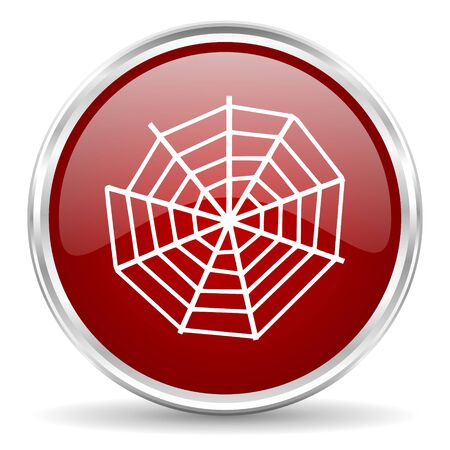spider web: spider web red glossy circle web icon Stock Photo
