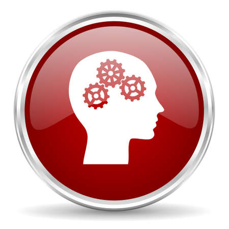 brainy: head red glossy circle web icon