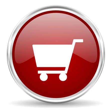 chrome cart: cart red glossy circle web icon