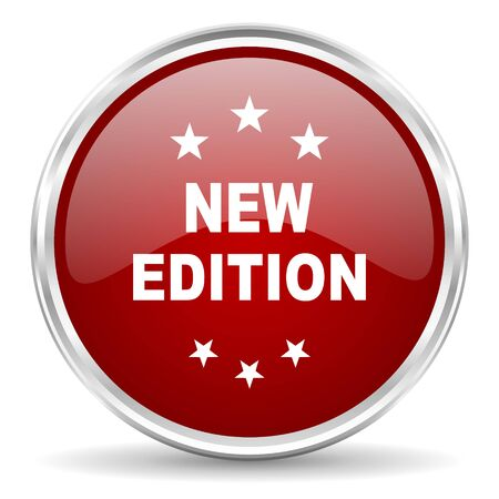 edition: new edition red glossy circle web icon Stock Photo