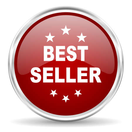seller: best seller red glossy circle web icon