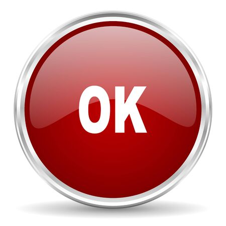 proceed: ok red glossy circle web icon Stock Photo
