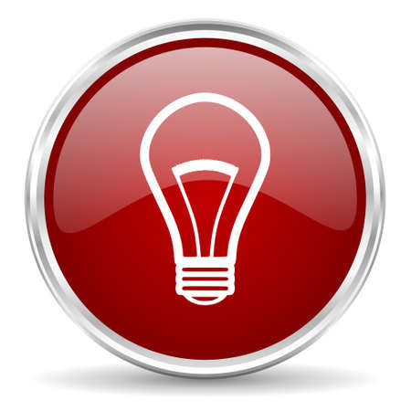 lighting button: bulb red glossy circle web icon