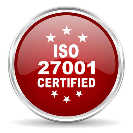 standard steel: iso 27001 red glossy circle web icon Stock Photo