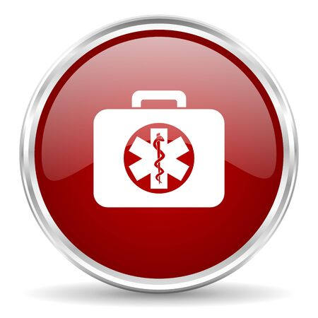 rescue circle: rescue kit red glossy circle web icon Stock Photo