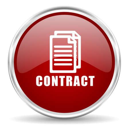 pacto: contrato web icono rojo brillante círculo
