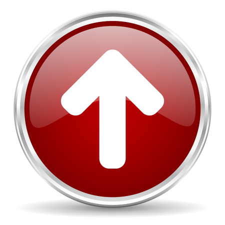 up arrow: up arrow red glossy circle web icon Stock Photo