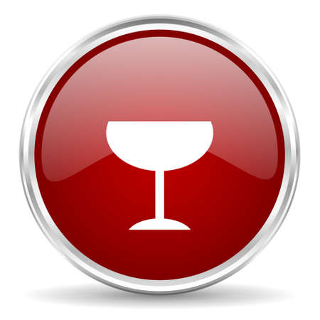 steel bar: alcohol  red glossy circle web icon