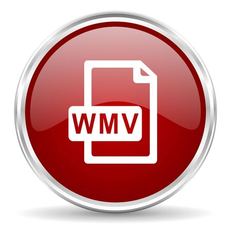 wmv: wmv file red glossy circle web icon