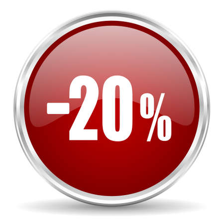 20: 20 percent sale retail red glossy circle web icon