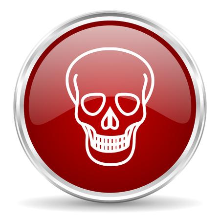 pirating: skull red glossy circle web icon Stock Photo