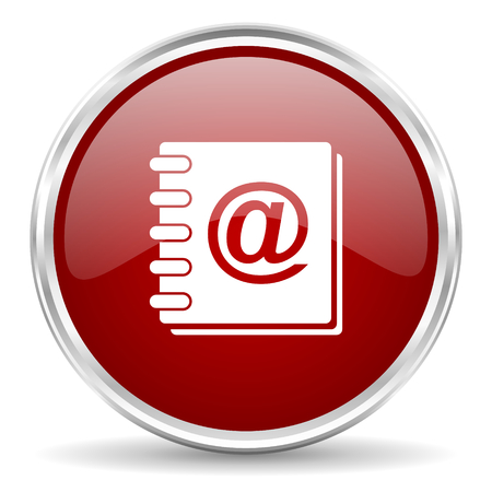 web address: address book red glossy circle web icon