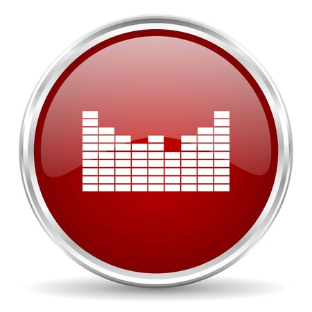 red sound: sound red glossy circle web icon