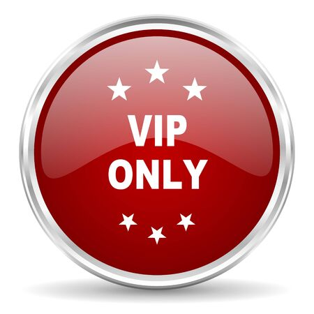 only: vip only red glossy circle web icon