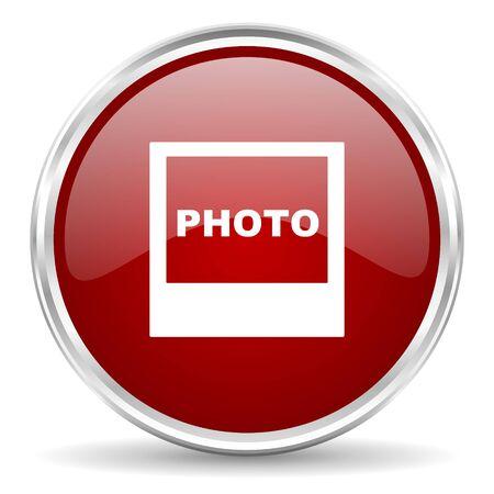 marcos redondos: photo red glossy circle web icon
