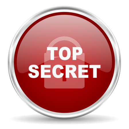 secrecy: top seret red glossy circle web icon Stock Photo
