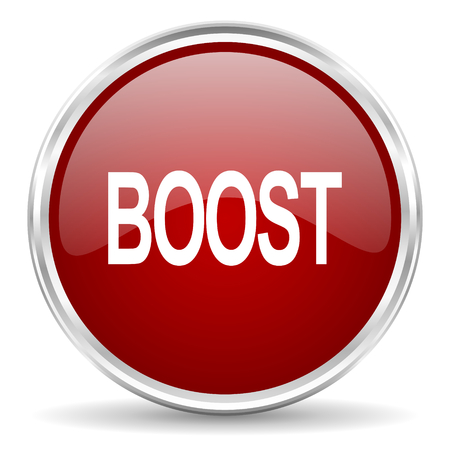 boost: boost red glossy circle web icon