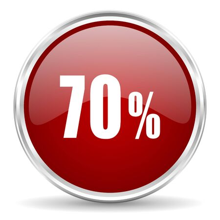 70: 70 percent red glossy circle web icon