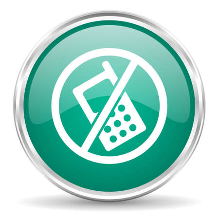 no cell phone: no phone blue glossy circle web icon