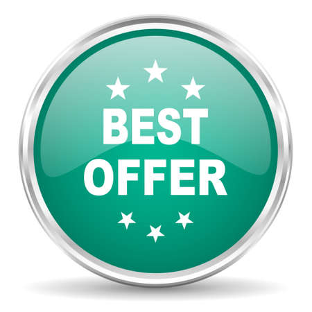 at best: best offer blue glossy circle web icon Stock Photo
