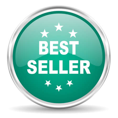 seller: best seller blue glossy circle web icon