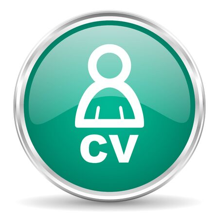 job descriptions: cv blue glossy circle web icon Stock Photo