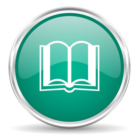guestbook: book blue glossy circle web icon Stock Photo