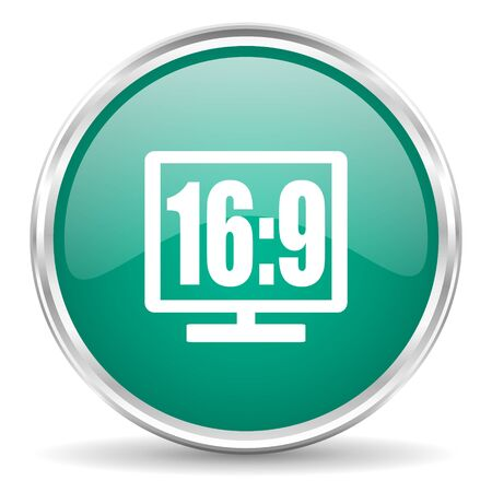 16 9: 16 9 display blue glossy circle web icon