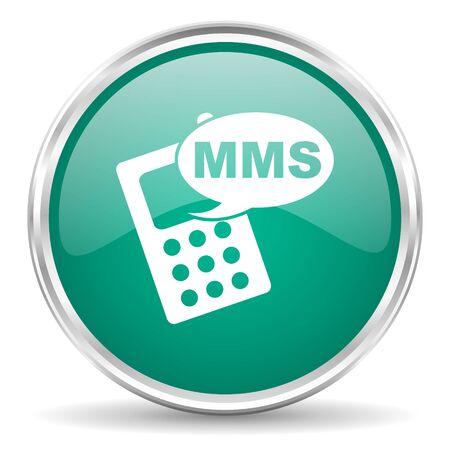 mms: mms blue glossy circle web icon