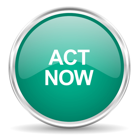 act: act now blue glossy circle web icon Stock Photo