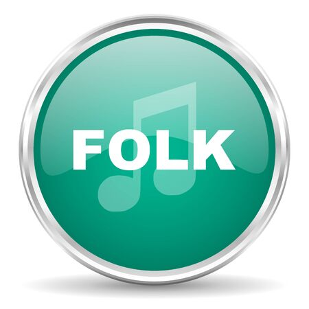 folk: folk music blue glossy circle web icon Stock Photo