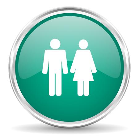 chrome man: couple blue glossy circle web icon