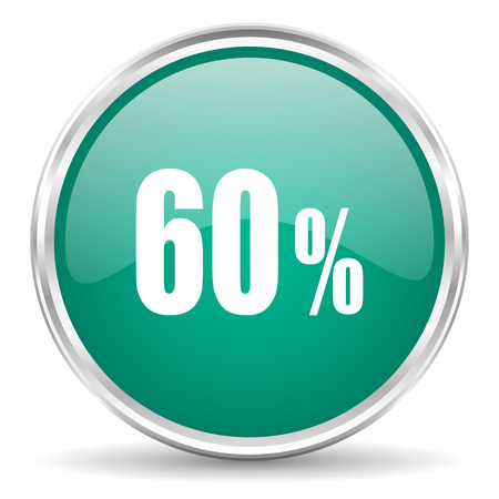 60: 60 percent blue glossy circle web icon