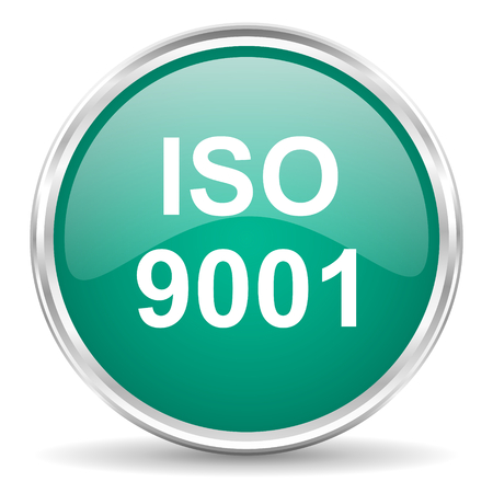 certificated: iso 9001 blue glossy circle web icon