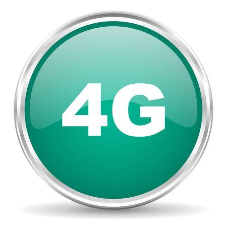 4g: 4g blue glossy circle web icon Stock Photo