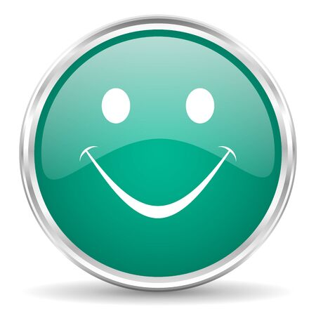 yea: smile blue glossy circle web icon