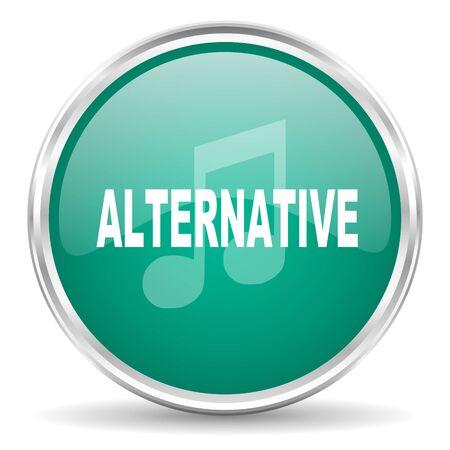 alternative: alternative music blue glossy circle web icon Stock Photo