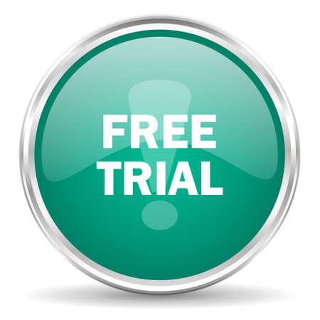 free trial: free trial blue glossy circle web icon Stock Photo
